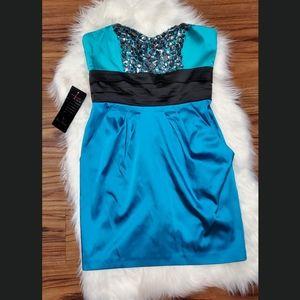 bebe Blue/Teal Beaded Cocktail Dress